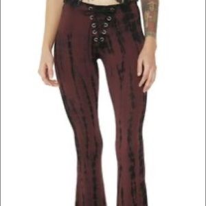 Current mood red tie dye flares
